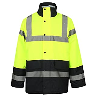 HuntaDeal Hi VIS Viz High Visibility Parka Jacket Coat Two Tone Colours Workwear Safety Security Concealed Hood Hooded Padded ¾ Length Waterproof Work Uniform … (Yellow/Navy, Medium)