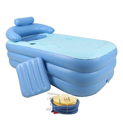 CO-Z Vasca da Bagno Gonfiabile per Adulti Piscina per Bambini Massaggio Spa Letto Pieghevole per Bagno/ Giardino (Blu)