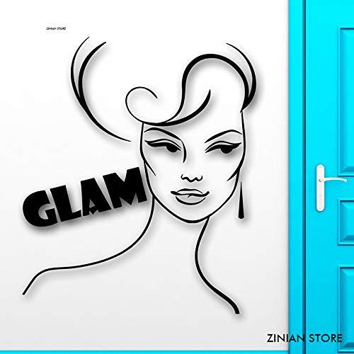 andaufkleber Beauty Glam Fashion Style Frauen Wandtattoos Vinyl Wanddekor Für Mädchen Schlafzimmer Abnehmbare Kunstwand H grau 84x99 cm ()