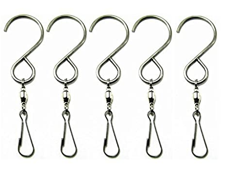 SUNREEK™Smooth Spinning Swivel Hooks Clips for Hanging Wind Spinners Rotate Spiral Tail Crystal Twisters Party Supply(5 Pack)