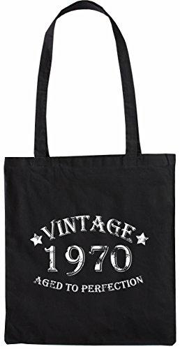 Mister Merchandise Tasche Vintage 1970 - Aged to Perfection 45 46 Stofftasche , Farbe: Schwarz Schwarz
