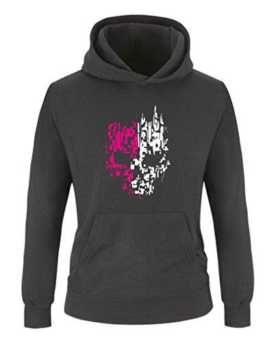 Comedy Shirts - Digital Skull - Mädchen Hoodie - Schwarz/Weiss-Pink Gr. 134/146 (Hoodie Name Kinder)