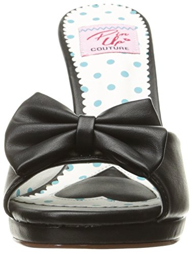 Pin Up Couture SIREN-03 Blk Faux Leather
