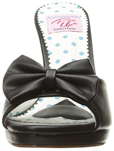 Pin Up Couture SIREN-03 Damen Retro Pantolette Blk Faux Leather
