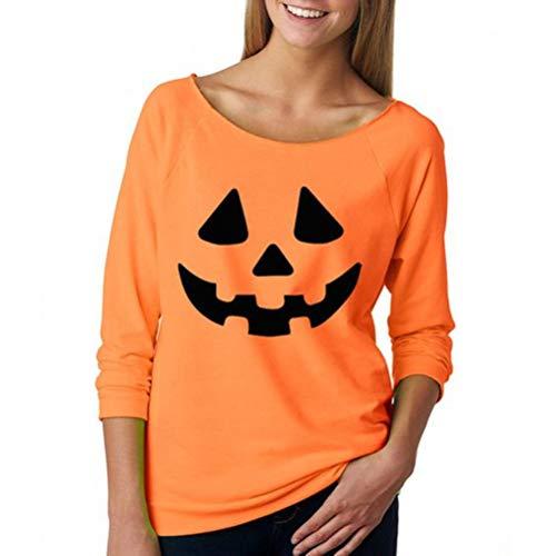 een-Kostüm Fun Pumpkin Face Print Orange Damen T-Shirt T-Shirt Hemden Tops (Color : Orange, Size : L) ()