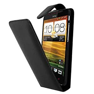 Black Leather Vertical Case for HTC One SV - High Quality Flip Phone Pouch Cover Skin