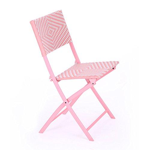 RKY Chaise Longue Rotin Balcon Loisirs Déjeuner Pause Chaise Maison Chaise Paresseux Portable Chaise Pliante Orange Rose Violet Gris /-/ (Couleur : Pink)