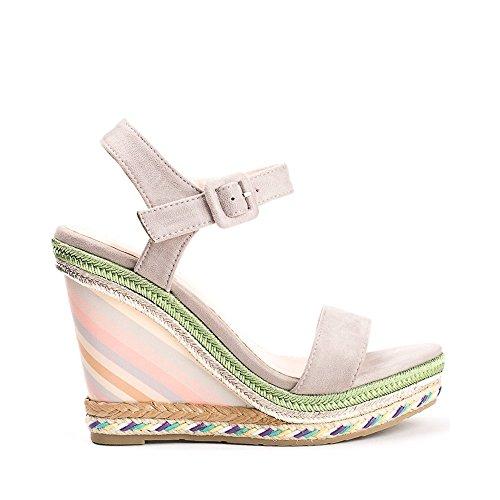 Ideal Shoes - Sandales compensées effet daim Milla Gris