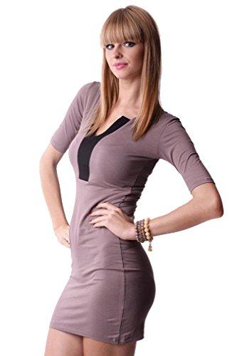 Damen Minikleid Dress Kleid Cocktailkleid Abendkleid V-Ausschnitt 3/4 Ärmel Onesize Gr. S M 36 38, 8474 Cappucino