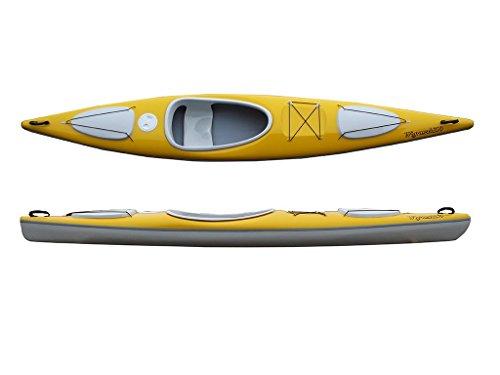 Wigraszek Wanderkajak Modell 399 Tourenkajak Einsteigerkajak leichtes Kajak 18kg, Farbe:Weiß-Schwarz-Weiß;Ausstattung:mit Fußrasten und Ruder