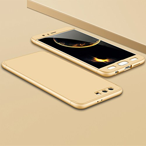 Huawei Honor 9 Hülle, 3 in 1 Ultra Dünner PC Harte Case 360 Grad Ganzkörper Schützend Anti-Kratzer Schutzhülle Vollschutz Hülle für Huawei Honor 9 Fall Premium mattierte Schutzharte Komplettschutz Han Gold