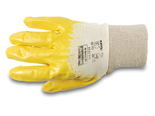 ENVIRO GLOVE 12 Paar gelber Nitril-Handschuh - Größe 11 - sehr flexible Arbeitshandschuhe - Öl- und Fett abweisend - Schutzhandschuhe nach Norm 388-3111