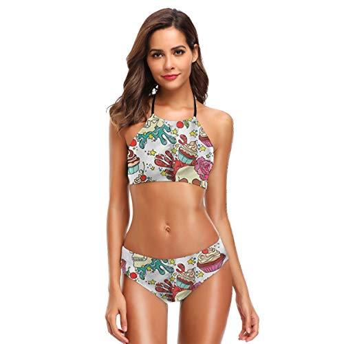 Schädel Trompete Muster Womens Badeanzüge 2 Stück Bikini Set hoch taillierte Badeanzüge für Frauen M (Stück-junioren 2 Badeanzüge,)