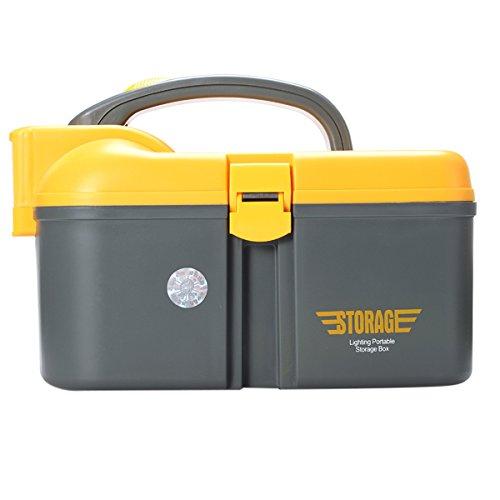 LaDicha 3 Größen Multifunktionale Pp Angeln Werkzeugschrank Mit Led Beleuchtung Umweltfreundlich Und Storage Boxen - Grau-M