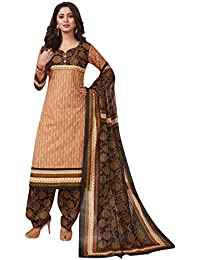 a8fe1fcaaf Ishin Cotton Brown & Black Printed Women's Unstitched Salwar Suits dress  material with Dupatta