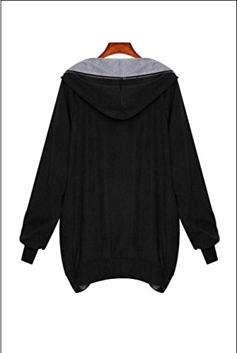 Cystyle Damen Sweatjacke Kapuzen Zipper Langarm Hoodie Sweater Schwarz