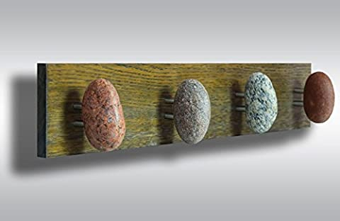 Coat hanger with 4 stones on decorative oak board. Wall hooks - coat rack with Smooth Beach Stones. Entryway hanger, Beach stone Towel Rack - Towel holder clothes hanger with 4 stones