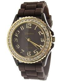Geneva Platinum silicona Jelly reloj, Marrón y dorado