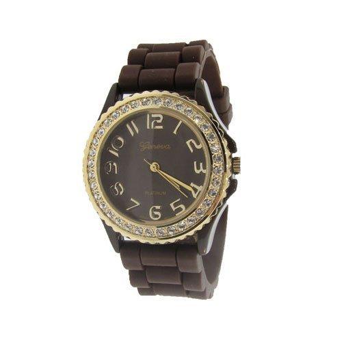 Geneva Platinum de Silicona Jelly Reloj, Color marrón y Dorado