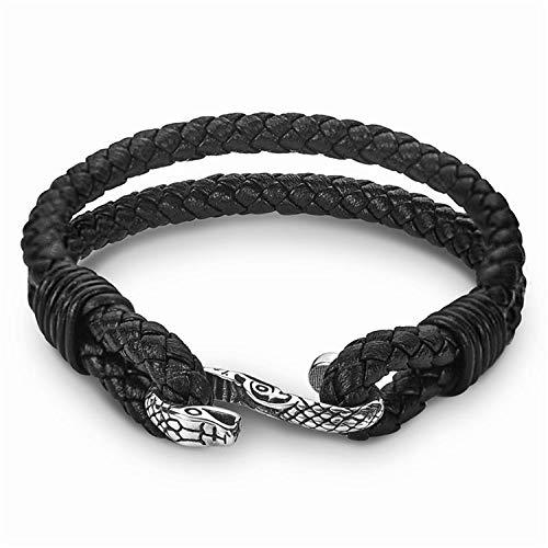 Sunwd Bracciale da donna, Braccialetto Bracciali, Punk Snake Charm Leather Bracelet Hook Stainless Steel Trendy Double Layer Black Braided Bracelets Bangles For Men Jewelry Gifts Snake 20.5cm