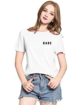 PINJIA Mujers Manga Corta Linda T-Shirt Suelta Redondo Casual Tops Graphic Tees Camiseta para Mujer(MX15)
