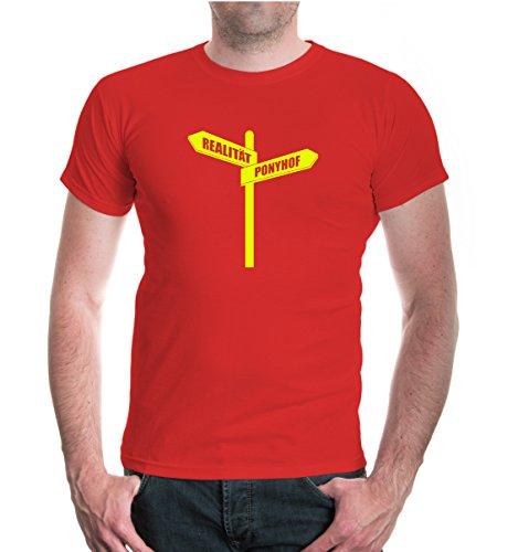 buXsbaum® T-Shirt Realität-Ponyhof Wegweiser Red-Neonyellow
