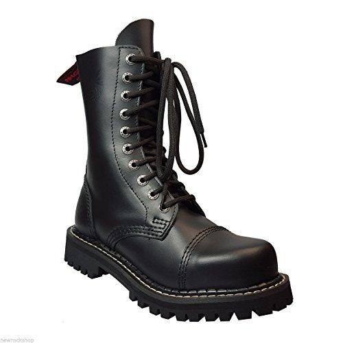 Angry Itch 10 Buchi Stivali Militari Anfibi in Pelle Color Nero punta di ferro punk (45)