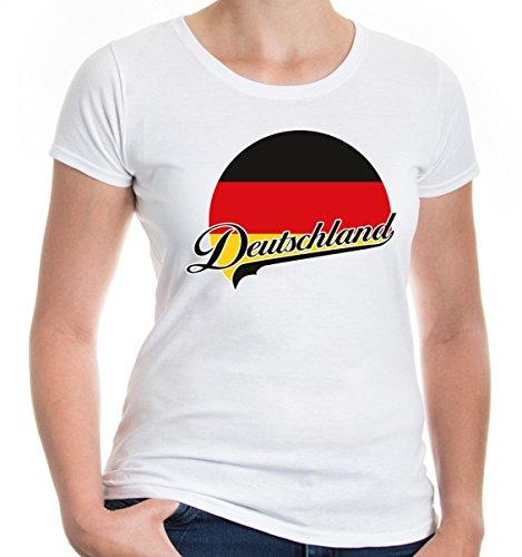 buXsbaum Damen Girlie T-Shirt Deutschland Logo   Germany Allemagne Alemania Europa Ländershirt Trikot Reise   L, Weiß (Adler-logo-shirt)