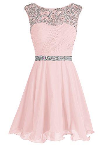 Bbonlinedress Homecoming Kurz Cocktail-kleider Chiffon A-Line Party Kleider Rosa