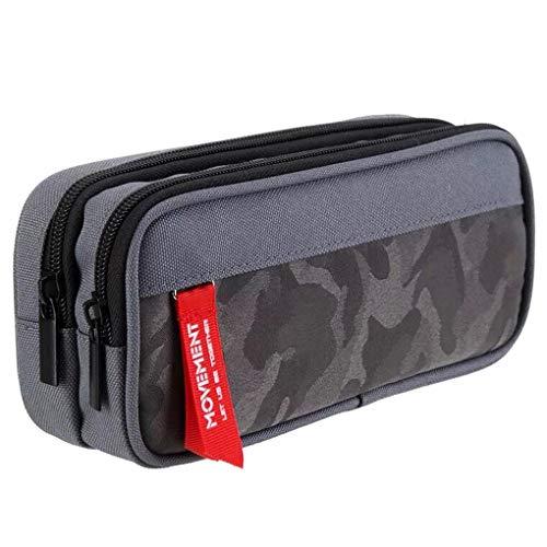 Maomaoyu grande capacità astuccio portapenne multifunzione impermeabile con cerniera per ufficio e scuola,22 cm(grigio)