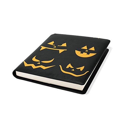 en Kürbis Gesichter Buch Sox dehnbare Buchumschlag, passt die meisten Hardcover-Bücher bis zu 9 x 11. Adhesive-Free, PU-Leder-Schule Book Protector ()