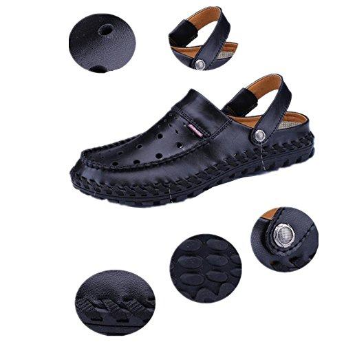 sandali degli uomini di modo di nuova personalità di estate sulle spiagge di cuoio dei pattini inferiori molli Baotou sandali degli uomini in pelle traspirante a mano Black