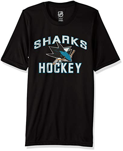 NHL by Outerstuff NHL San Jose Sharks Youth Boys Quick Net Performance Short Sleeve Tee, Black, Youth X-Large(18)