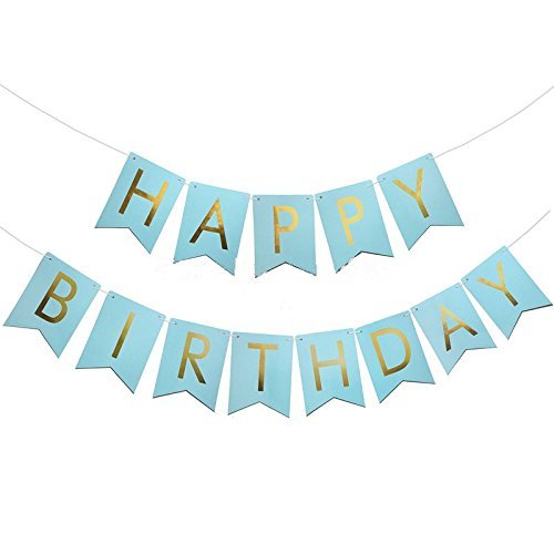Blue And Gold Birthday Banners Amazon Co Uk