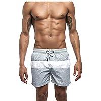 Okany Pantalones Cortos de Playa de Traje de Secado rápido para Hombres con Tono Ajustable con cordón en el mar
