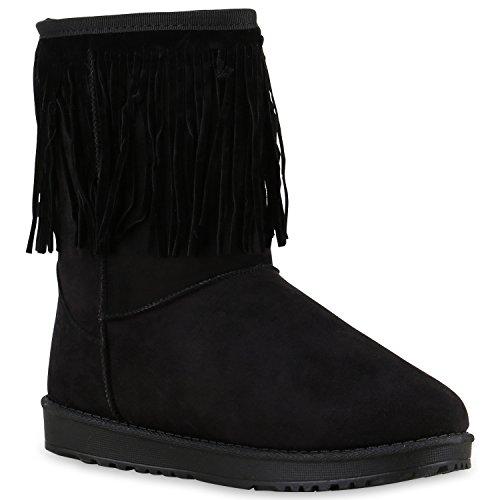 Damen Schuhe Schlupfstiefel Fransen Stiefel Profilsohle Warm Gefüttert 128229 Schwarz Bernice 37 Flandell