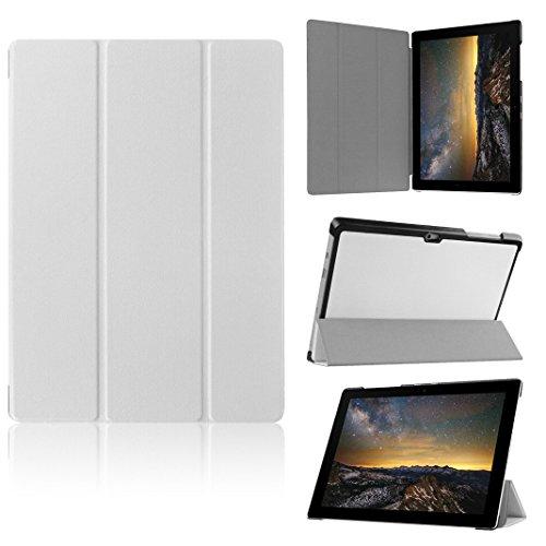 Preisvergleich Produktbild Moon mood® PU Leder Schutzhülle für Microsoft surface 3 (10.8 Zoll) Tablet Hülle mit Custer Profil Standfunktion Flipcase (Weiß)