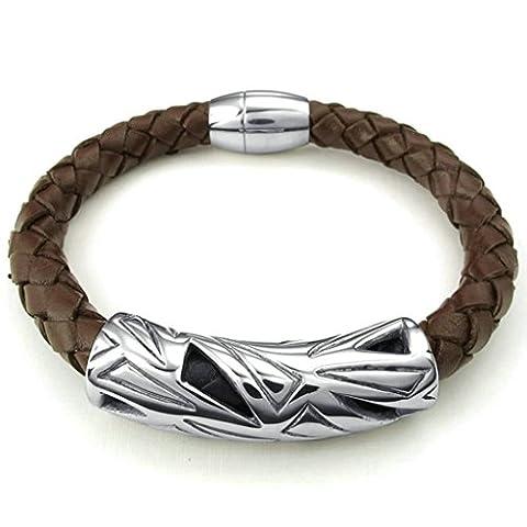 AMDXD Bijoux Acier Inoxydable Bracelets à Manchette pour Hommes Crave Cylinder Marron 8.5 Pouce