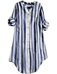 Luckycat Mujer Camiseta De Manga Larga De Algodón Casual SóLido TúNica Suelta Tops Camiseta Mujer Talla Grande Camiseta De Algodón para Mujer a Raya Impresión Top Dobladillo Irregular Blusa
