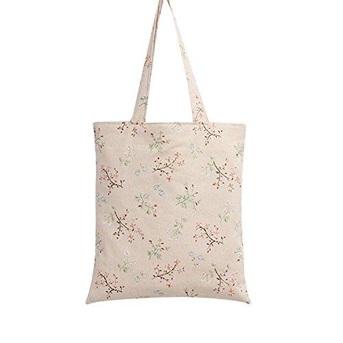 Nuni Damen Schultertasche mit Blumenmuster, Baumwolle, Beige, Beige (Zip Closure), Medium -