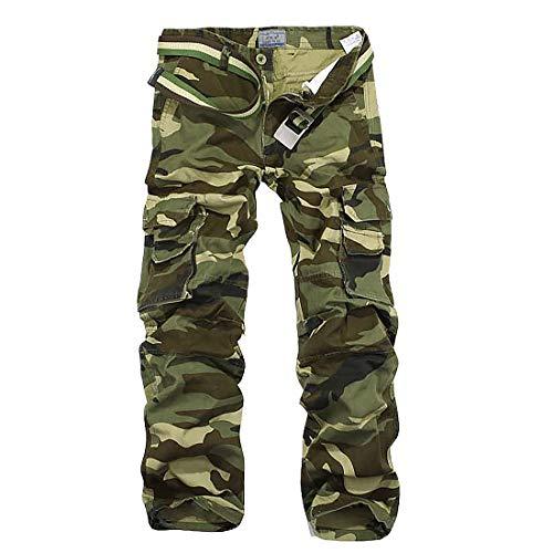 iCKER Herren Cargo Hose Camouflage Pants Camo Trousers Arbeitshose Freizeithose,Camo-grün,Taille:87 ,Grösse 34