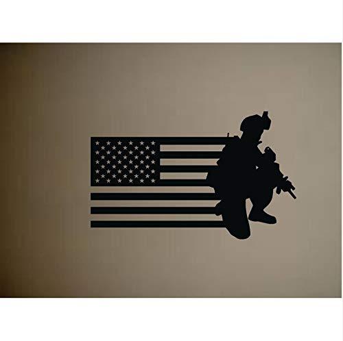 Preisvergleich Produktbild AELAHER Abnehmbare Army Military Soledier Und Amerikanische Flagge Vinyl Wandaufkleber Armee Gun Old Glory Wandtattoo Startseite Für Art Decor 80X55Cm