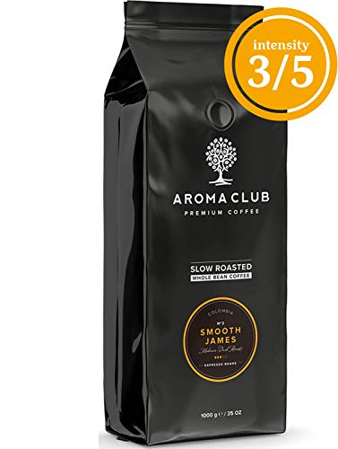 Aroma Club Kaffeebohnen 1 kg - Smooth James Medium/Dark röstung - colombian - Slow Roast - UTZ certified & co2 Neutraal - Röstung Bio Dunkle Kaffee-bohnen
