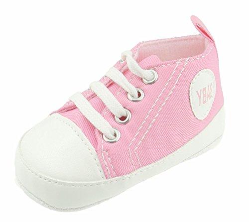 Niedliche Baby Jungen Mädchen Spitzen bis Turnschuhe Kinderwagen Schuhe Block Farbe Pink -