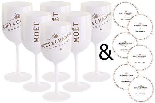 6 x Moët & Chandon Ice Imperial Champagner Acryl-Glas 0.45l Becher Kelch weiss/gold Gläser Set inkl. Untersetzer (6 x Stück) Weiße Becher