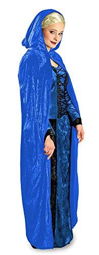 Das Kostümland Samt Umhang mit Kapuze zu Theater, Karneval oder Mottoparty, Blau, (Cape Für Erwachsenen Theater Kostüm)