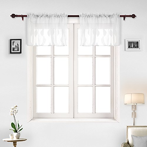 Deconovo Sheer Voile Fenster Drapes Tülle Top Weiß Sheer Vorhang Panel 52x18 inch Weiß -