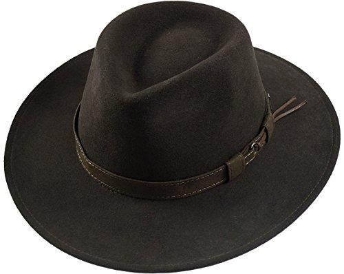 Rollbarer Hut mit breiter Krempe braunes Stoffband in 3 Farben!, Farben:dunkelbraun, Kopfgröße:61