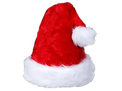 Alsino Cappello Babbo Natale peluche cappellino a taglia unica per adulti di colore diversi con bordino bianco e pompon, festa di natale unisex accessorio travestimento, wm luxus:wm-65 felpa rossa