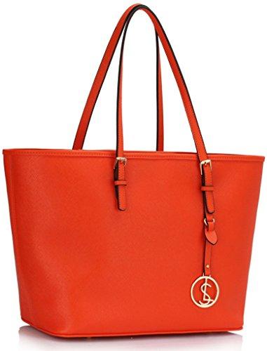 LeahWard® Damen Tasche Große Größe Damen Mode Essener Berühmtheit Stil Schulter Handtaschen Qualität Einkaufstaschen Handtasche mit Charme CWS00297 (Orange) (Stil Handtasche Schulter)